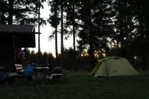 Unser Lagerplatz frühmorgens bei Sonnenaufgang