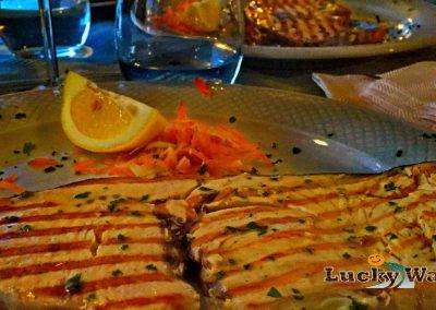 Sizilien Trapani Marausa Beach Bar Dinner mit Schwertfisch