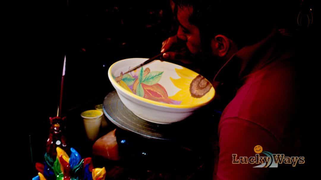 Grafidea Keramikatelier Cefalù Sizilien Italien Signore Saia bemalt Kermikschüssel